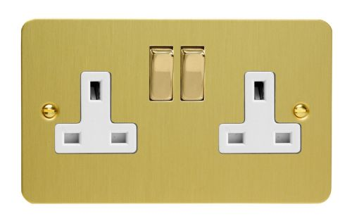 Varilight XFB5DW Ultraflat Brushed Brass 2 Gang Double 13A Switched Plug Socket